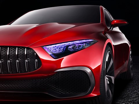 The headlamps on the Mercedes Concept A Sedan