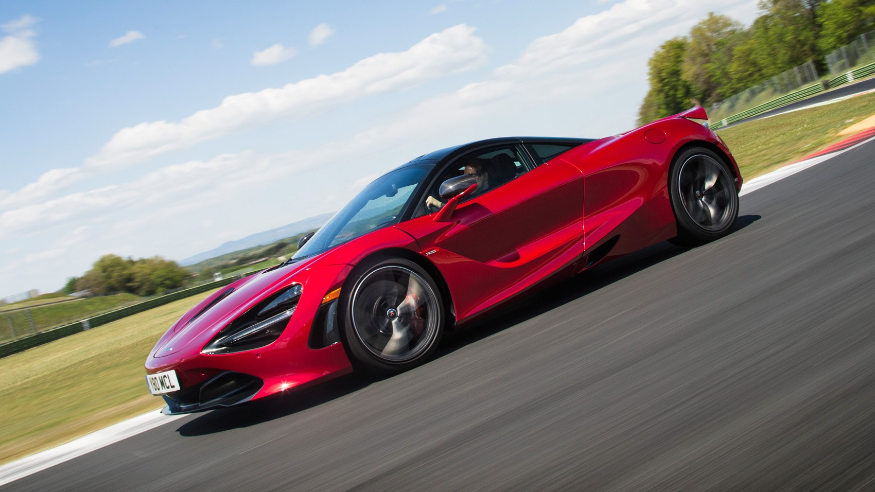 McLaren 720S Memphis Red front tracking
