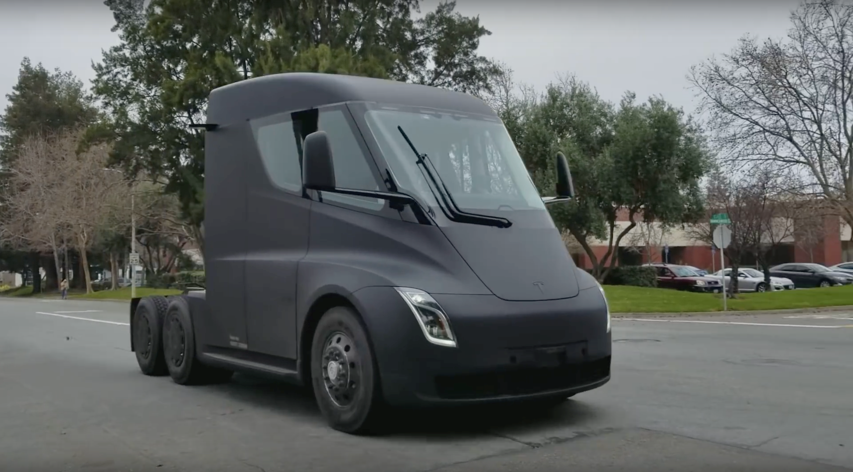 Tesla Semi Watch The Electric Truck Burn Rubber By Car