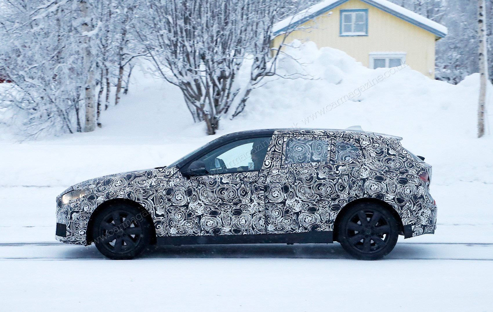 new front wheel drive bmw 1 series spied winter testing by car magazine. Black Bedroom Furniture Sets. Home Design Ideas