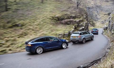Tesla Model X vs Audi SQ7 vs Range Rover Sport triple test review
