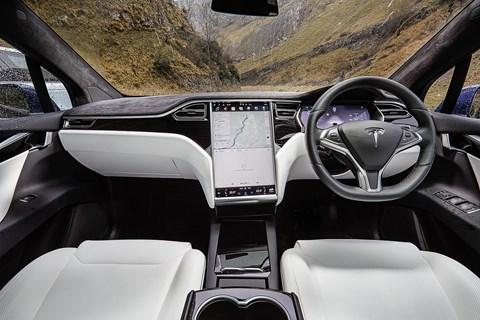 Inside Tesla Model X cabin