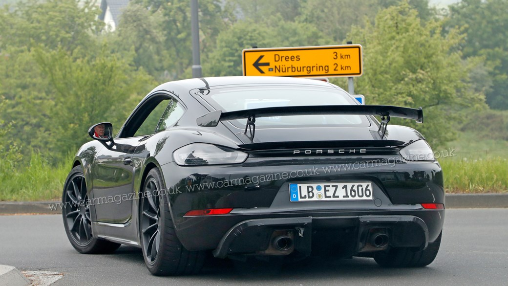 new porsche 718 cayman gt4: wingless touring spotted testing | car