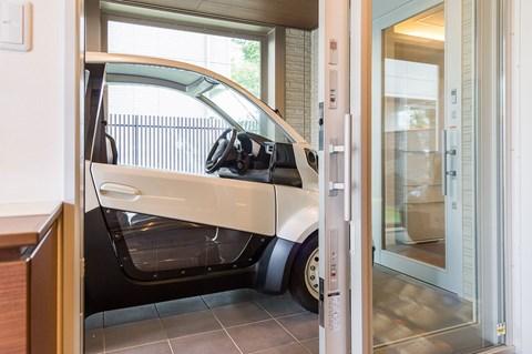 Car viewing platform in Honda smart home kitchen