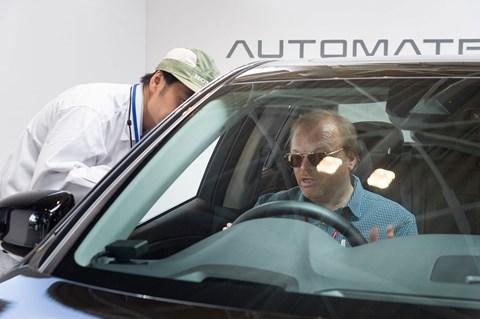 Author Keith Adams getting the lowdown on the autonomous Hondas