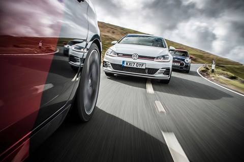 Hot hatch triple test review: VW Golf GTI vs Peugeot 308 GTI vs Mini John Cooper Works JCW