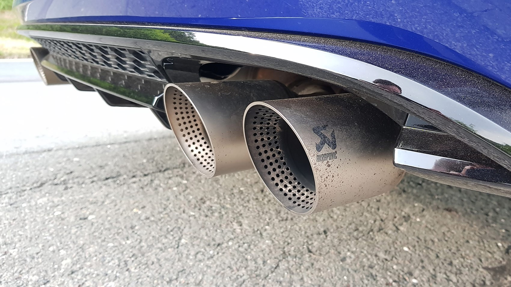 The Acrapovič exhaust on the 2018 VW Golf R Performance Pack