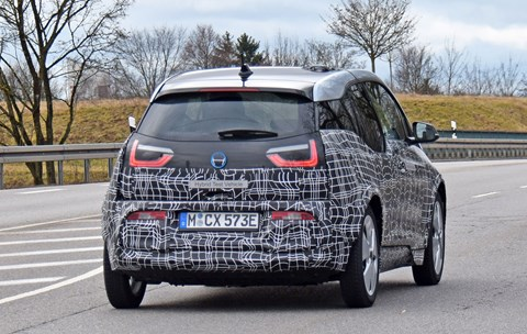 Rear end of facelifted 2018 BMW i3 electric car: spy photos