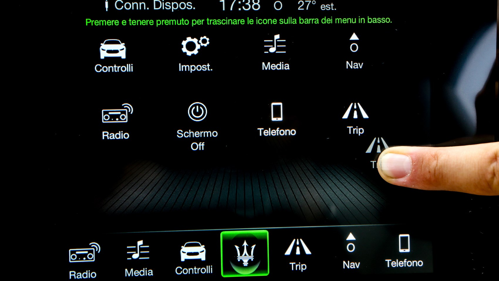 Maserati GranCabrio infotainment screen