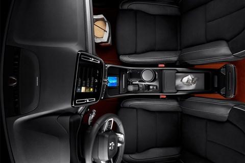 Bird's-eye view of the Volvo XC40's cabin