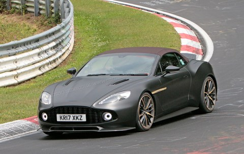 Aston Martin Vanquish Zagato Volante: spy photos at the Nurburgring