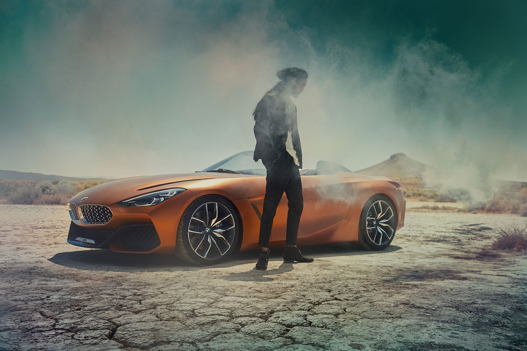 Super Sized Bmw Kidney Grille Extra Wide On 2017 Concept Z4 Cue The Usual Lifestyle Photos Where You Can T Really See Car Or Man