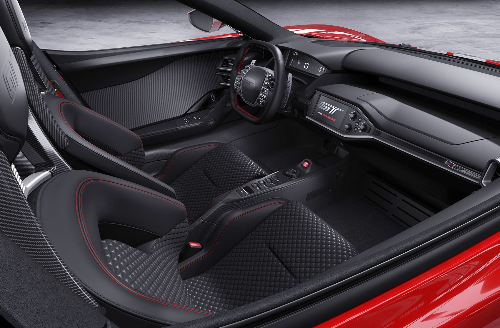 The Ford Gt  Heritage Edition Red Stitching Stainless Appliques Scattered Around Ford Gt Cabin A Limited