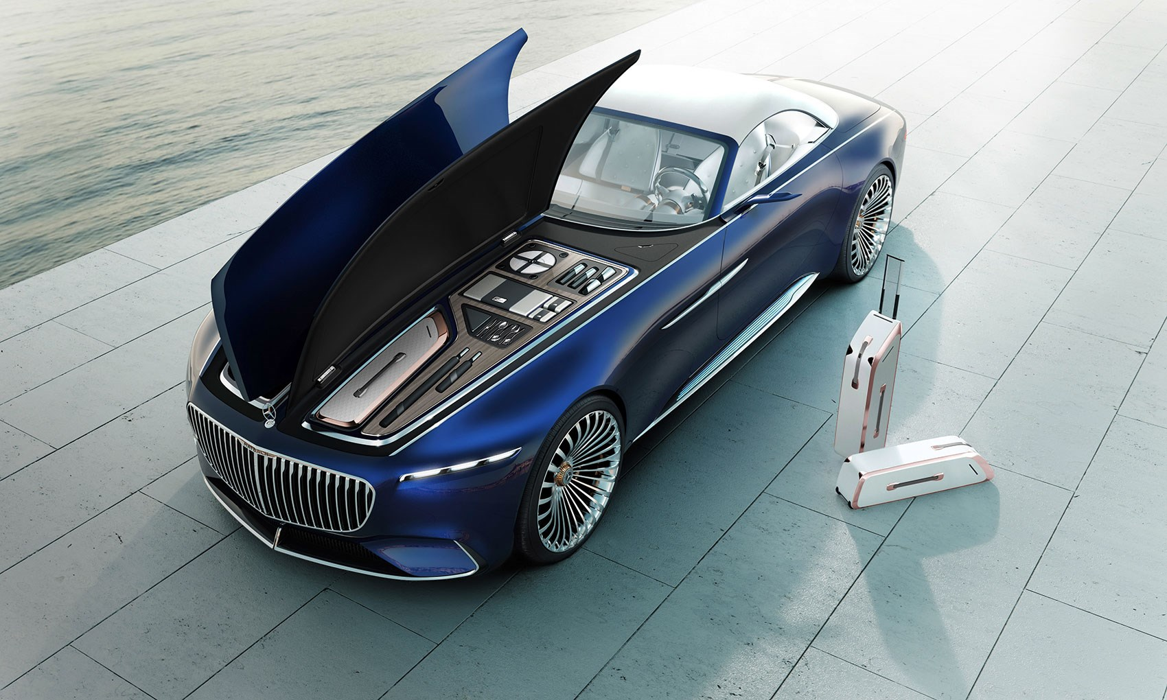 Stunning Luggage And Picnic Set Under Vision Mercedes Maybach 6 Cabriolet S Bonnet