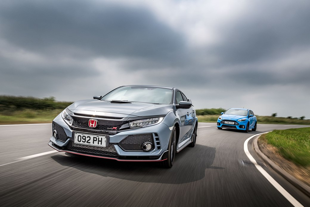 Ford Focus RS chases Honda Civic Type R: CAR magazine's hot hatch mega test