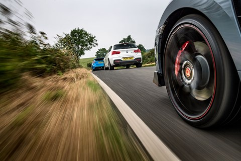 BMW M140i and Ford Focus RS chased down by new Honda Civic Type R hot hatch