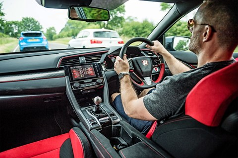 Honda Civic Type R interior: it's very red