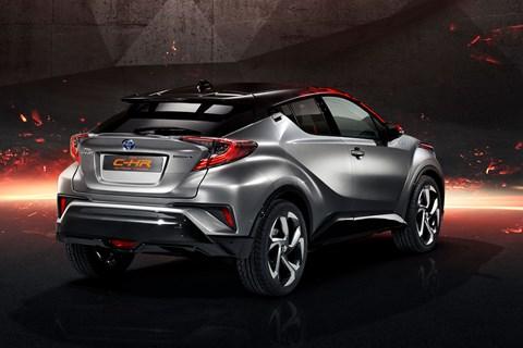 Rear view of the Toyota C-HR Hy-Power concept shows wilder bodywork