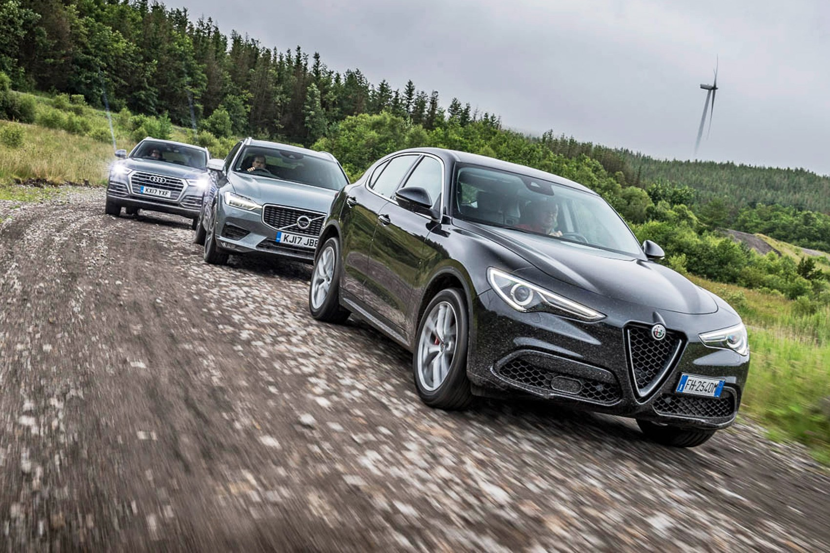 alfa romeo stelvio vs volvo xc60 vs audi q5 triple test review by car magazine. Black Bedroom Furniture Sets. Home Design Ideas