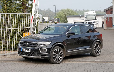 Spied in May 2018: the new VW T-Roc R emerges from the Volkswagen group test facility at the Nurburgring