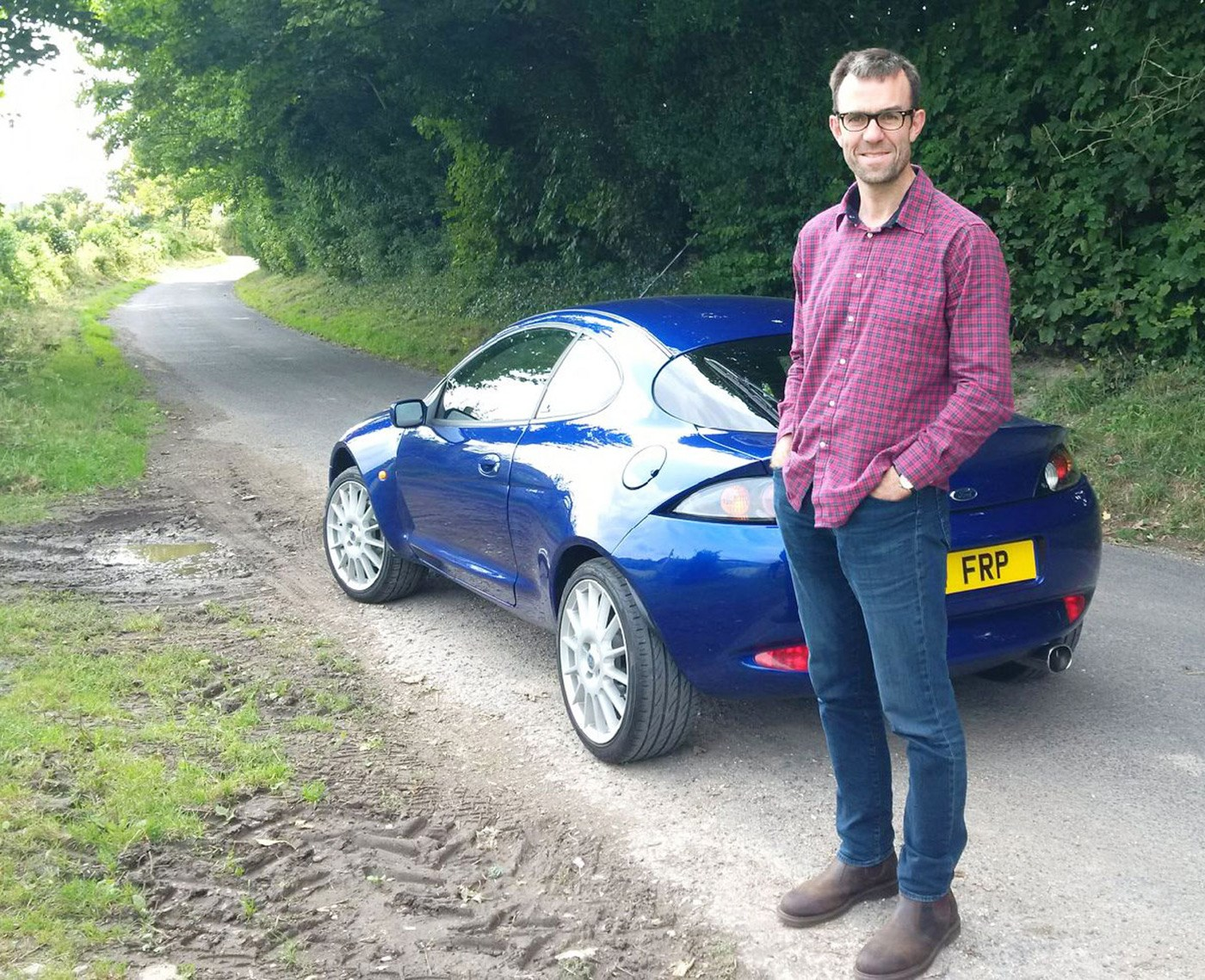Author Tim Pollard with the Ford Racing Puma - it's the original press test car on the Ford UK heritage fleet