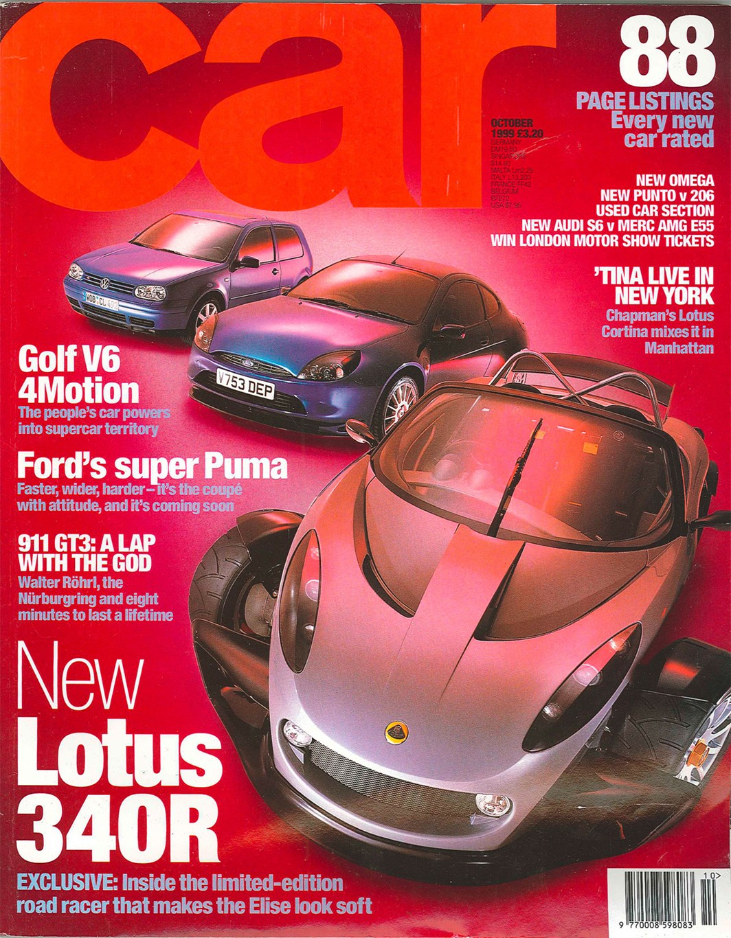 CAR magazine, October 1999: starring the Ford Racing Puma, Lotus 340R and VW Golf V6 4Motion