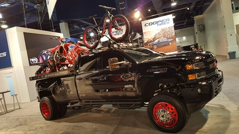 An overarching theme in 2017 – putting all your hobbies on one truck - like this example on the Cooper Tire stand