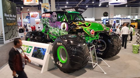 The Grave Digger boasts a blown 540 cubic inch Merlin motor worth 1450hp, squeezed into a 1950 Chevrolet panel body. The sign say it's the most popular monster truck in the world - we're not arguing, it took ages to get this people-free shot of it.