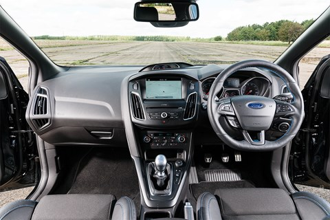 Ford Focus RS interior: a rather dour cabin, but very focused