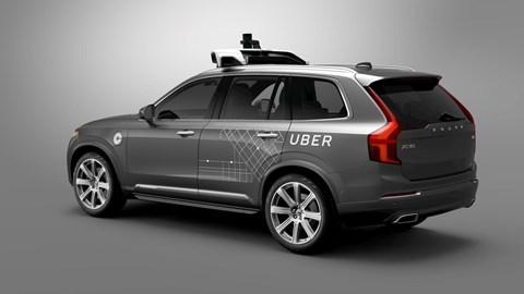 Autonomous Volvo XC90 Uber: stock photo