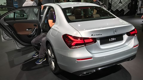 Mercedes A-Class A250e plug-in hybrid at the Frankfurt motor show - rear view
