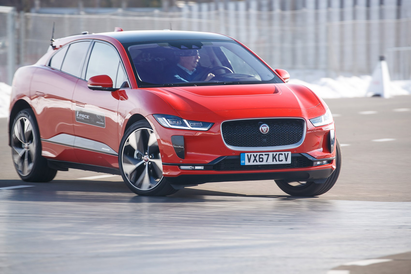 Jaguar i-Pace tested at the Geneva motor show 2018