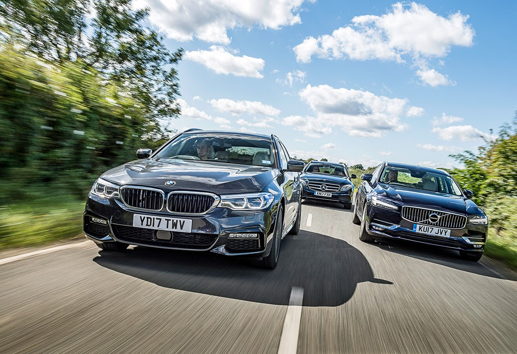 volvo v90 vs bmw 5-series touring vs mercedes e-class (2017) triple