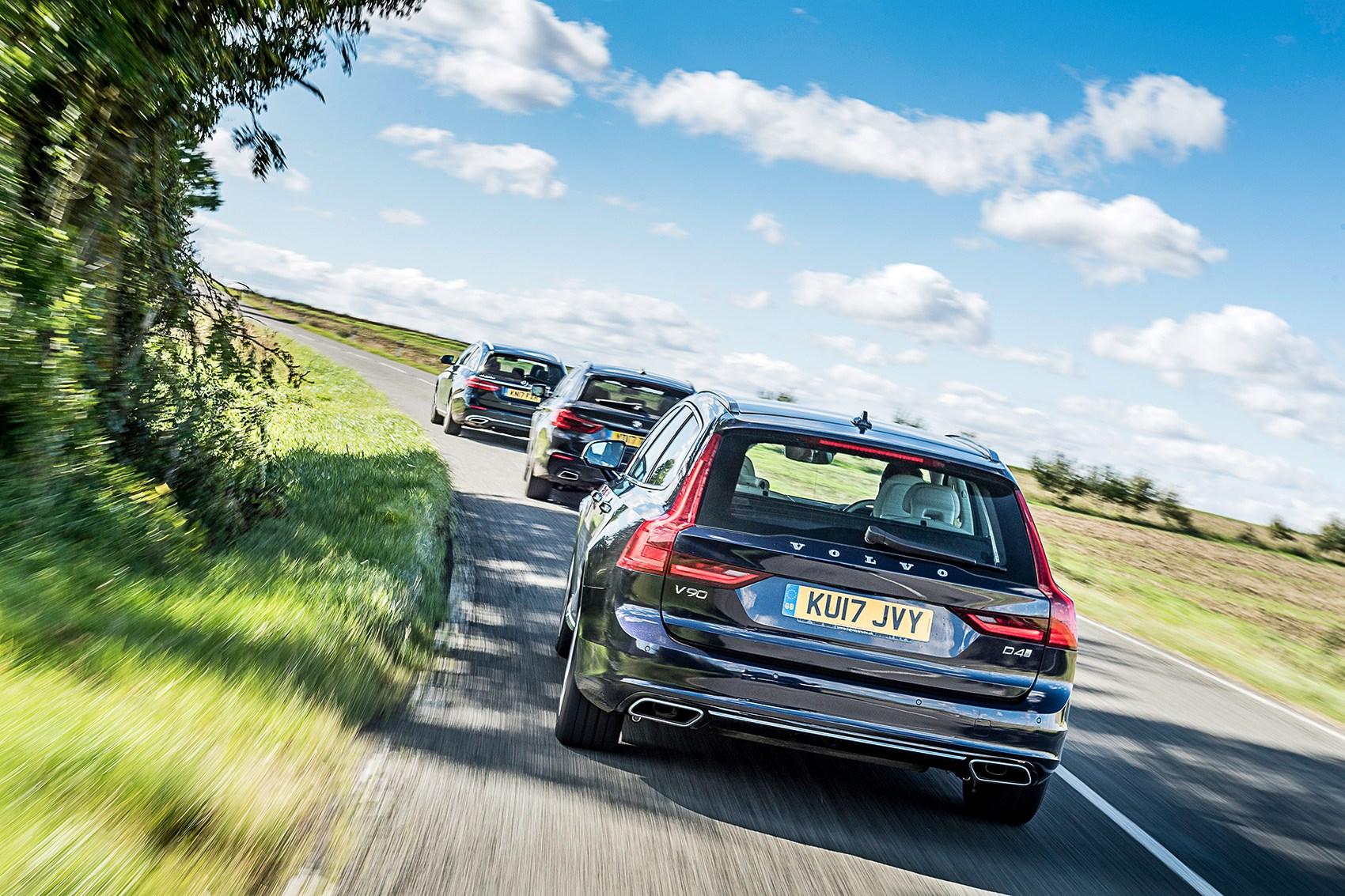 Volvo V90 vs BMW 5-series Touring vs Mercedes E-class (2017) triple