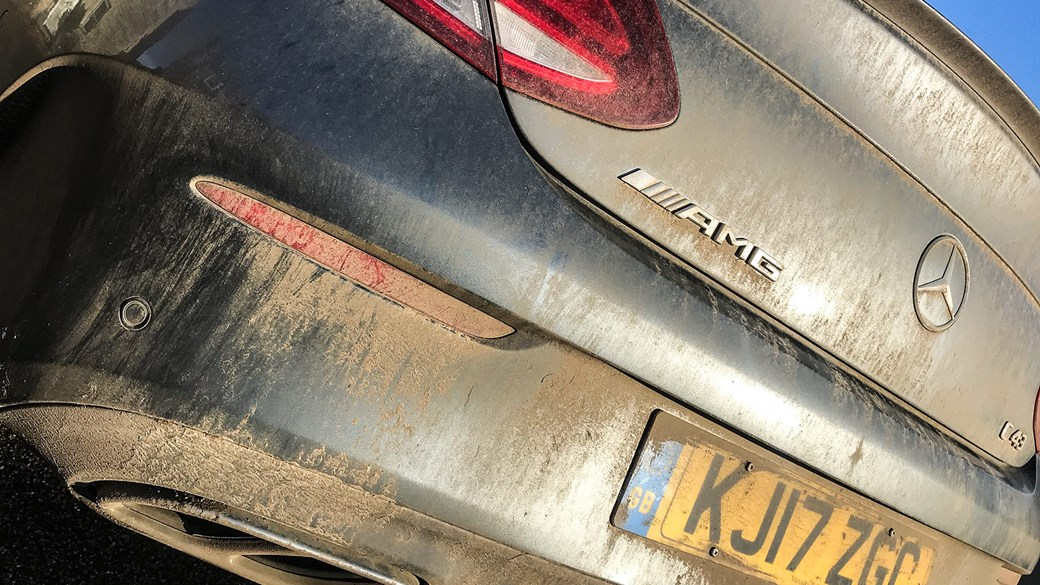 Winter muck: our C43 Coupe's 4wd comes in handy when the going gets muddy