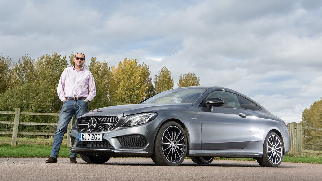 Our spangly new Mercedes-AMG C43 Coupe. And one Steve Moody