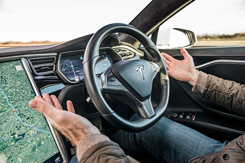 Tesla Model S Autopilot steering wheel