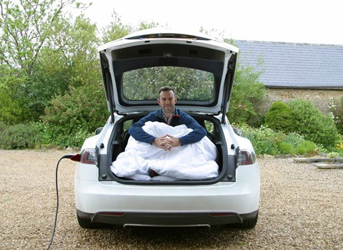 Tim Pollard camping in the Tesla Model S