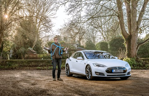 Tim Pollard and the myriad charging cables and Chademo adaptor for our Tesla Model S