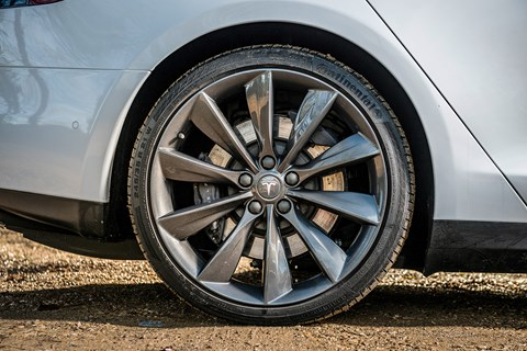 Huge 21-inch alloy wheels on our Tesla Model S 85D - yet the ride is remarkably pliant