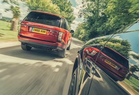 Range Rover SVA Dynamic shadowed by Bentley Bentayga