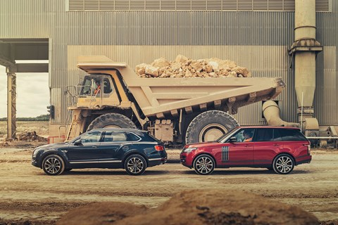 Big boys' Tonka toys: our Range Rover and Bentley Bentayga are dwarfed by proper earth-moving equipment