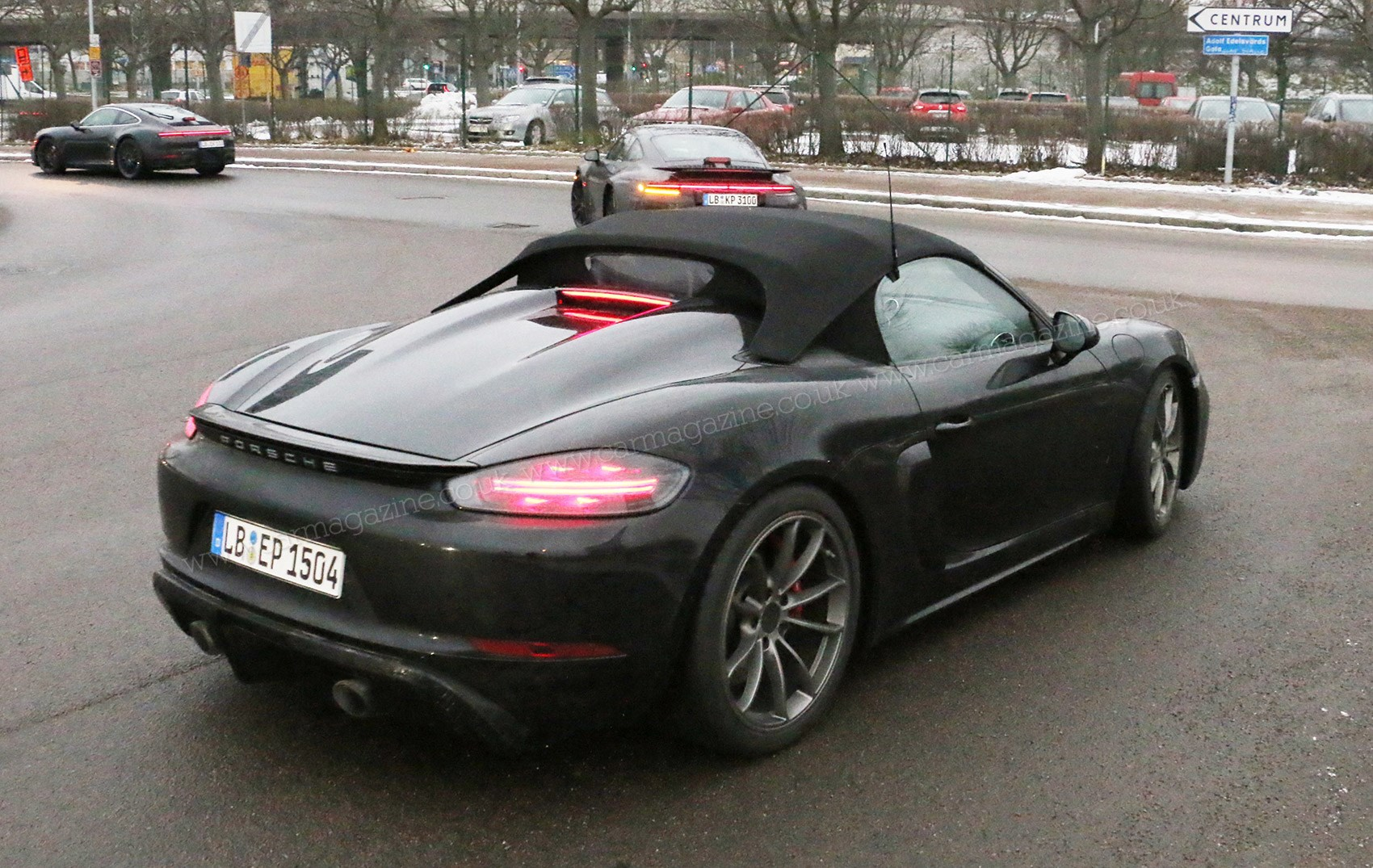 ... A huge rear deck noticeable on this Porsche 718 Boxster Spyder  prototype we caught refuelling in Scandinavia