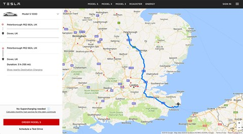 The new Tesla web app lets you plot your journey online, with guidance to suitable Tesla charging points en route