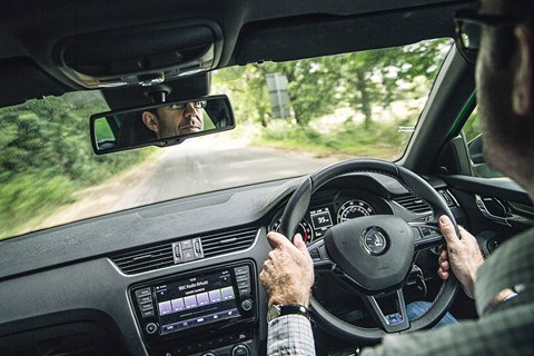 Inside the cabin of the Skoda Octavia vRS Estate
