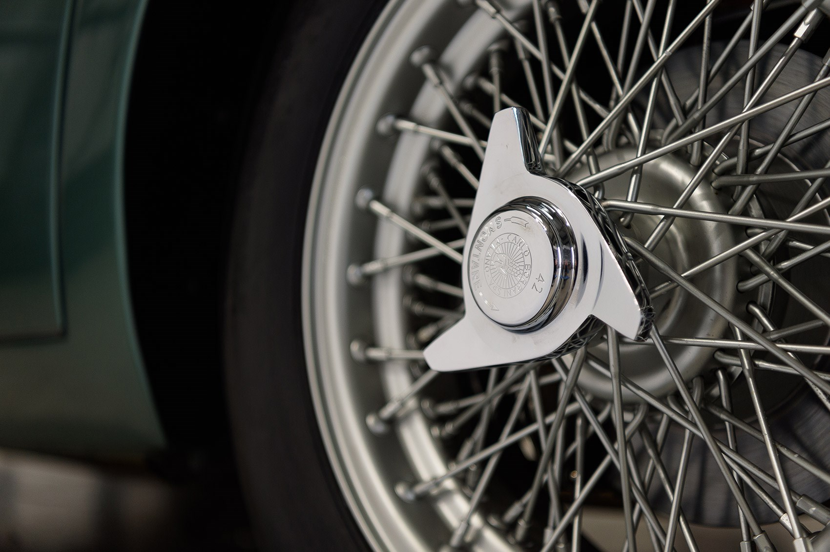 Lovely wire wheels on Aston Martin DB4 GT Continuation