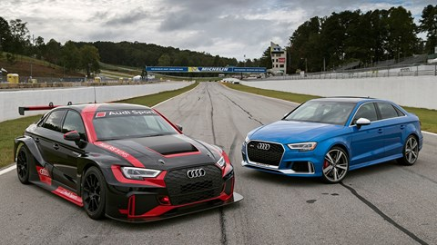 Audi RS3 LMS and RS3 saloon road car