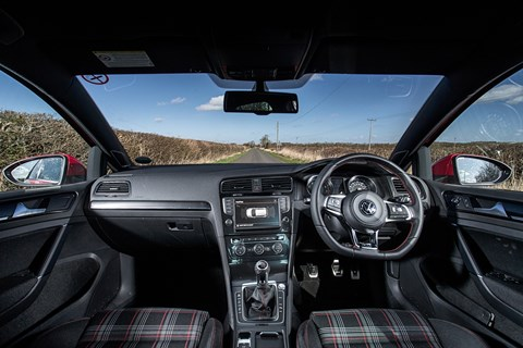 The cabin of our VW Golf GTI Mk7 - with tartan seats!