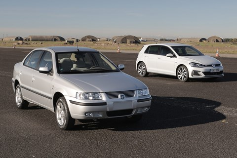 VW Golf GTE and a IKCO Samand, the Iranian-bulit popular car