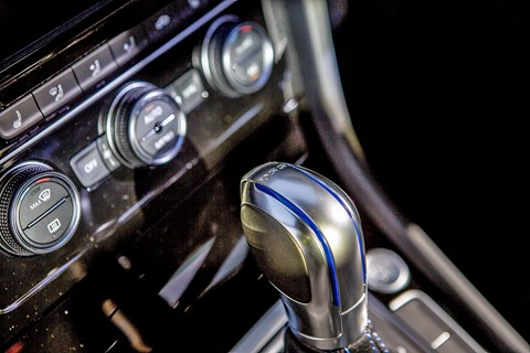 Heating and ventilation (HVAC) controls on our Volkswagen Golf GTE interior